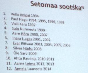 Setomaan sootskat kahdenkymmenen vuoden ajalta. Paul Hagun  esittämä dia.