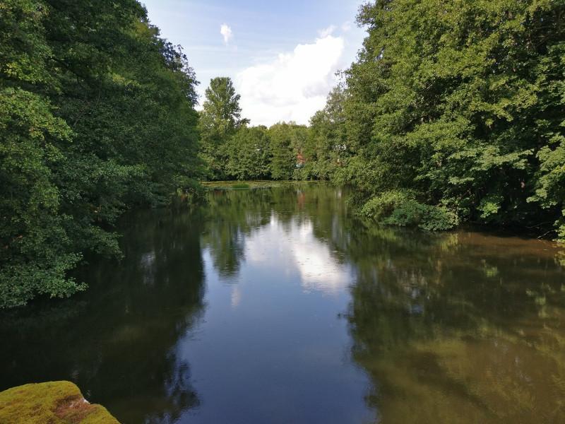 Järvimaisema Mustion linnan kesäteatterin viereiseltä sillalta. Puut  heijastuvat kauniisti järven peilipintaan.
